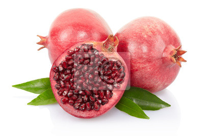 Wall mural Pomegranate with leaves on white with clipping path