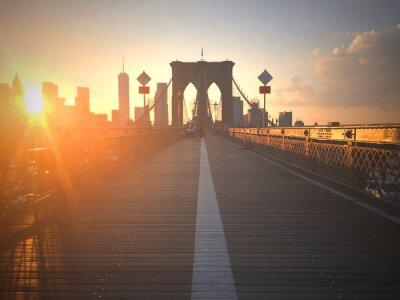 Wall mural Ponte di Brooklyn al tramonto con vista di New York