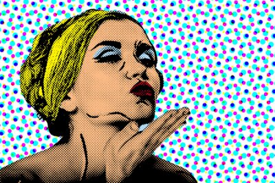 Wall mural Pop art comic style woman, retro poster