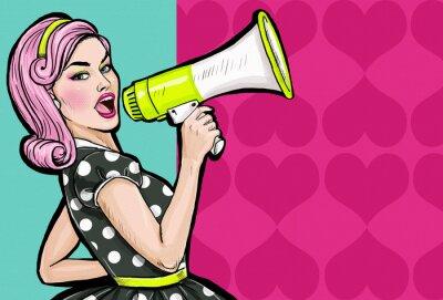 Wall mural Pop art girl with megaphone. Woman with loudspeaker.
