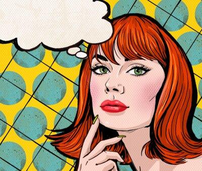 Wall mural Pop Art girl with the speech bubble.