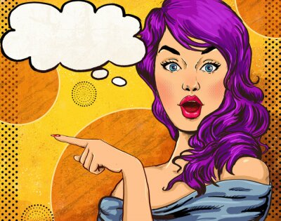 Wall mural Pop Art illustration of girl with the speech bubble.Fashion