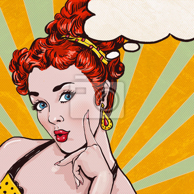 Pop Art illustration of woman with the speech bubble.