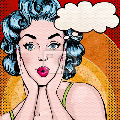 Pop Art illustration of woman with the speech bubble.P