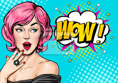 Wall mural Pop Art illustration, surprised girl.Comic woman. Wow.Advertising poster. Pop Art girl. Birthday greeting card. Advertising poster. Pop art background