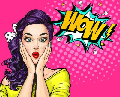Wall mural Pop Art illustration, surprised girl.Comic woman. Wow.Advertising poster. Pop Art girl. Party invitation.