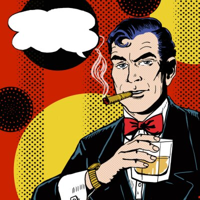 Wall mural Pop Art Man with glass smoking  cigar and with speech bubble.