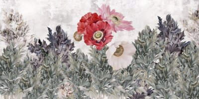 Wall mural Poppies flowers illustration. Poppies painted on the grunge wall. Beautiful design for card, postcard, picture, mural, wallpaper, photo wallpaper.