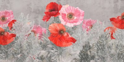 Wall mural Poppies flowers illustration. Poppies painted on the grunge wall. Beautiful design for postcard, picture, mural, wallpaper, photo wallpaper.