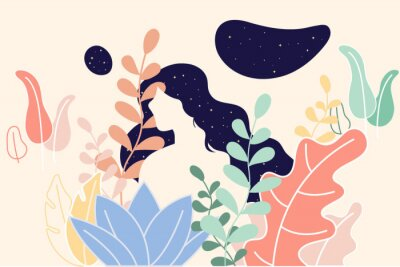 Wall mural Portrait of a woman and tree backgroun the night, brighter stars. Vector illustration in flat cartoon style. The head of a girl. Minimalist.