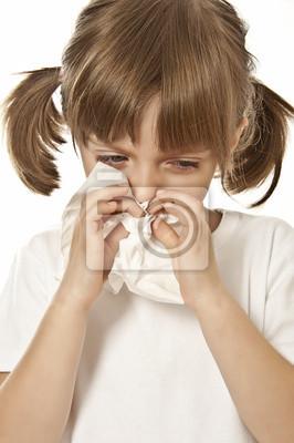 portrait of little girl with handkerchief  - allergy