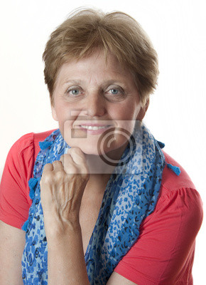 portrait of senior woman - sixty years old on white background