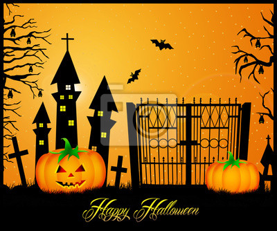 Wall mural postcard of Halloween