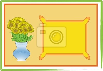 Postcard with a sunflower. Vector