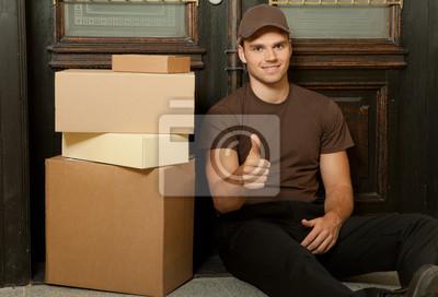 postman sits front door before