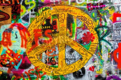 Wall mural PRAGUE, CZECH REPUBLIC - MAY 21, 2015: Peace Sign on Famous John Lennon Wall on Kampa Island in Prague filled with Beatles inspired graffiti and lyrics since the 1980s.