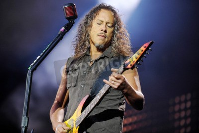 Wall mural PRAGUE, CZECH REPUBLIC - MAY 7, 2012: Guitarist Kirk Hammett of Metallica During a performance in Prague, Czech Republic, May 7, 2012.