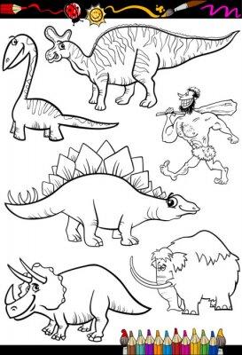 Wall mural prehistoric set for coloring book