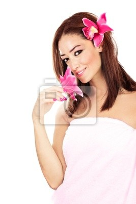 Wall mural Pretty girl with pink flowers