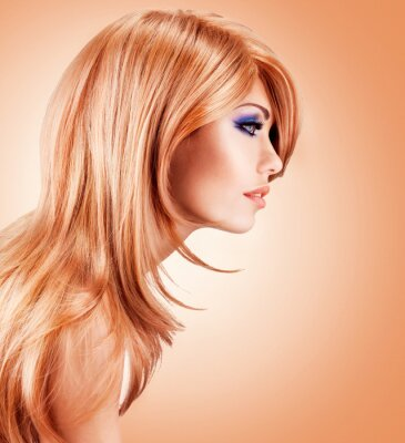 Wall mural Profile portrait  of  beautiful pretty woman with long red hairs