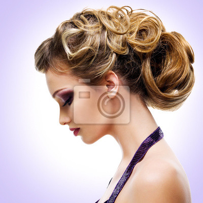 Wall mural Profile portrait of  woman with fashion  hairstyle