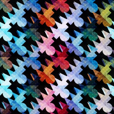 psychedelic colored polygons Abstract seamless geometric pattern on a black background