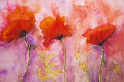 Wall mural Psychedelic poppies on a pink background.