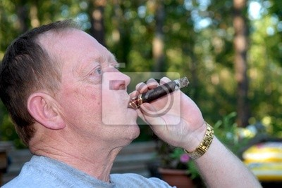 puffing on a cigar