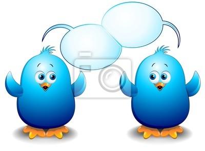 Pulcini Uccelli Blu Cartoon-Blue Birds Chicks Talking-2-Vector