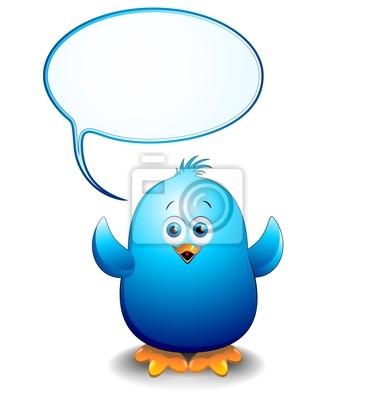 Pulcino Uccello Blu Cartoon Fumetto-Blue Bird Chick with Bubble