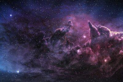 Wall mural purple nebula and cosmic dust in star field