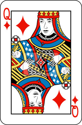 Queen of diamonds from deck of playing cards
