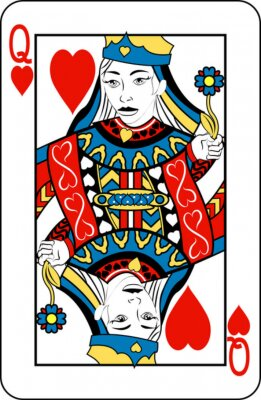 Wall mural Queen of Hearts from deck of playing cards