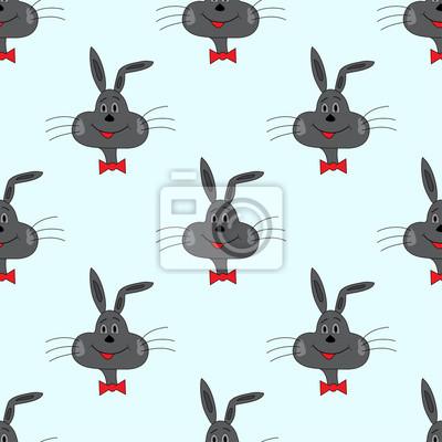 rabbit on a blue background vector illustration seamless pattern
