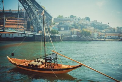 Wall mural Rabelo boat, traditional port wine transport on Douro river.