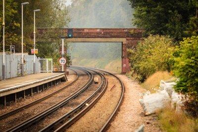 Wall mural Rail road railway tracks.