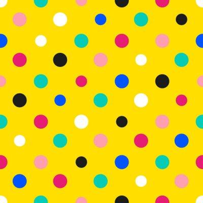 Wall mural Rainbow Colorful Polka dot Yellow Background Vector Illustration