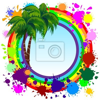 Rainbow Colors Frame and Palm Trees