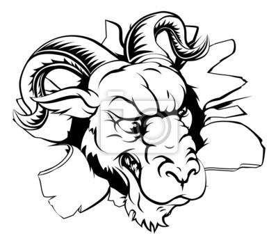 Ram mascot breaking through wall