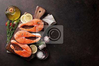 Wall mural Raw salmon fish fillet