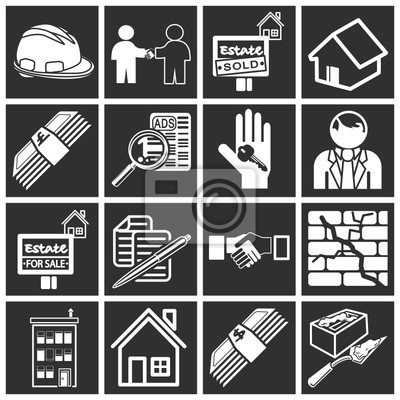 Wall mural real estate icons