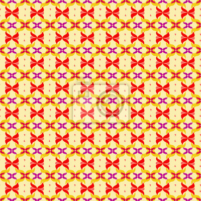 Wall mural red abstract flower petals on yellow background seamless pattern