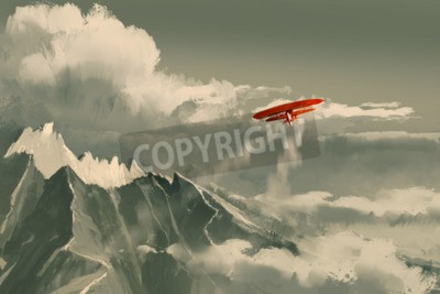 Wall mural red biplane flying over mountain,illustration,digital painting