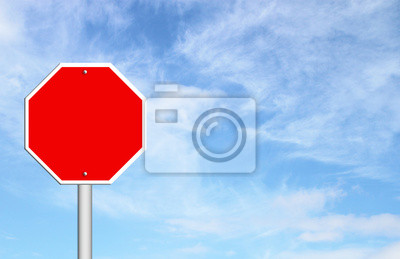 red blank sign with blue sky