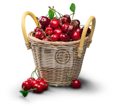 Red cherry and leaf