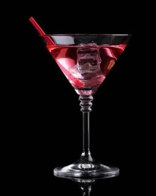 Wall mural Red cocktail in martini glass isolated on black