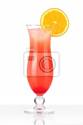 Red cocktail with ice and orange