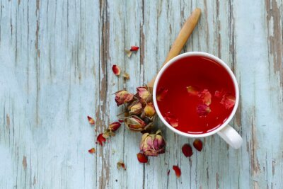 Wall mural red flower tea, from the petals of rose