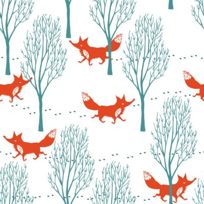 Wall mural Red foxes in a winter forest background