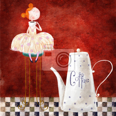 Red-head girl with cup of coffee sitting on the chair